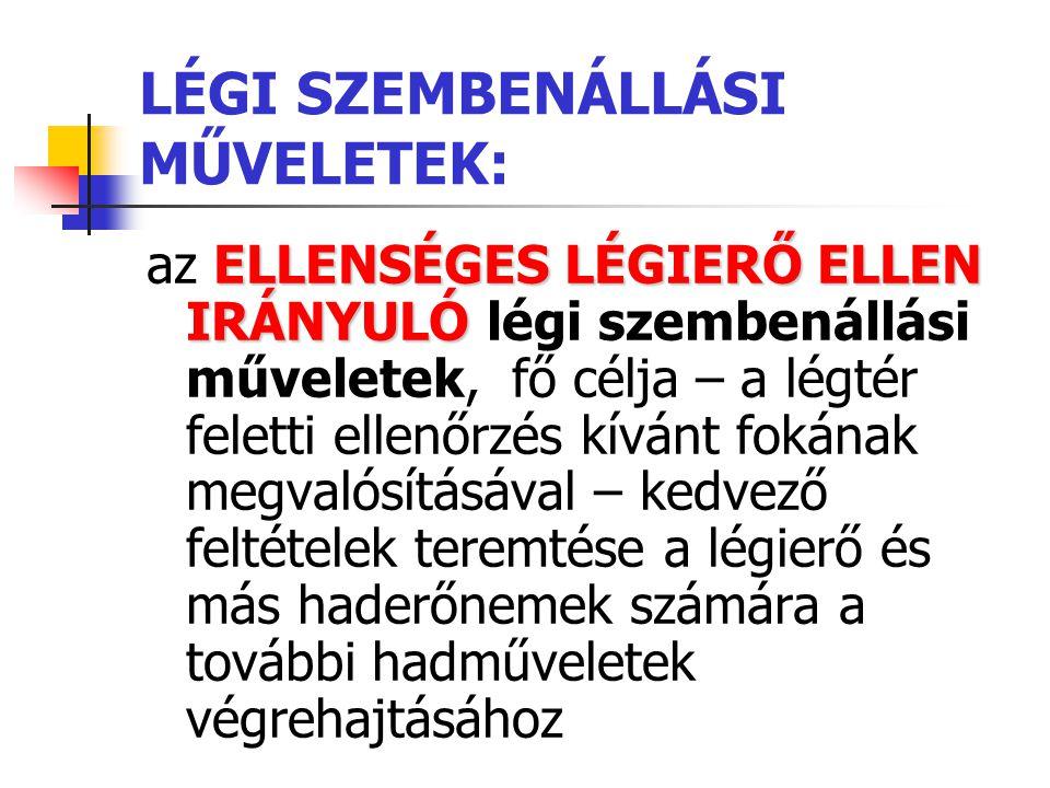 LÉGI SZEMBENÁLLÁSI MŰVELETEK: