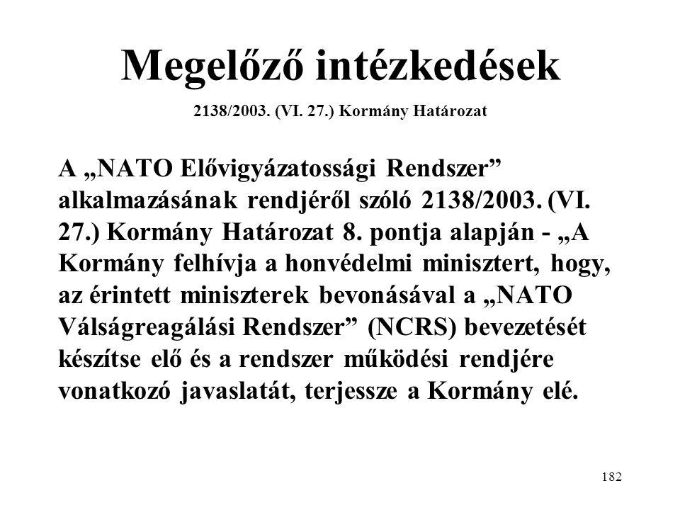 Megelőző intézkedések 2138/2003. (VI. 27.) Kormány Határozat