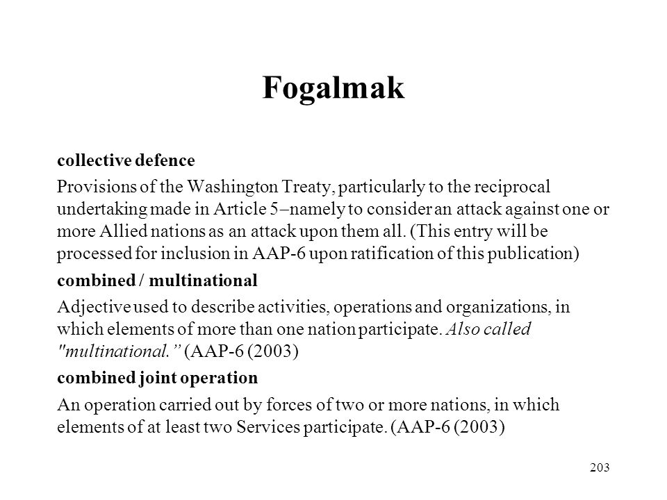 Fogalmak collective defence