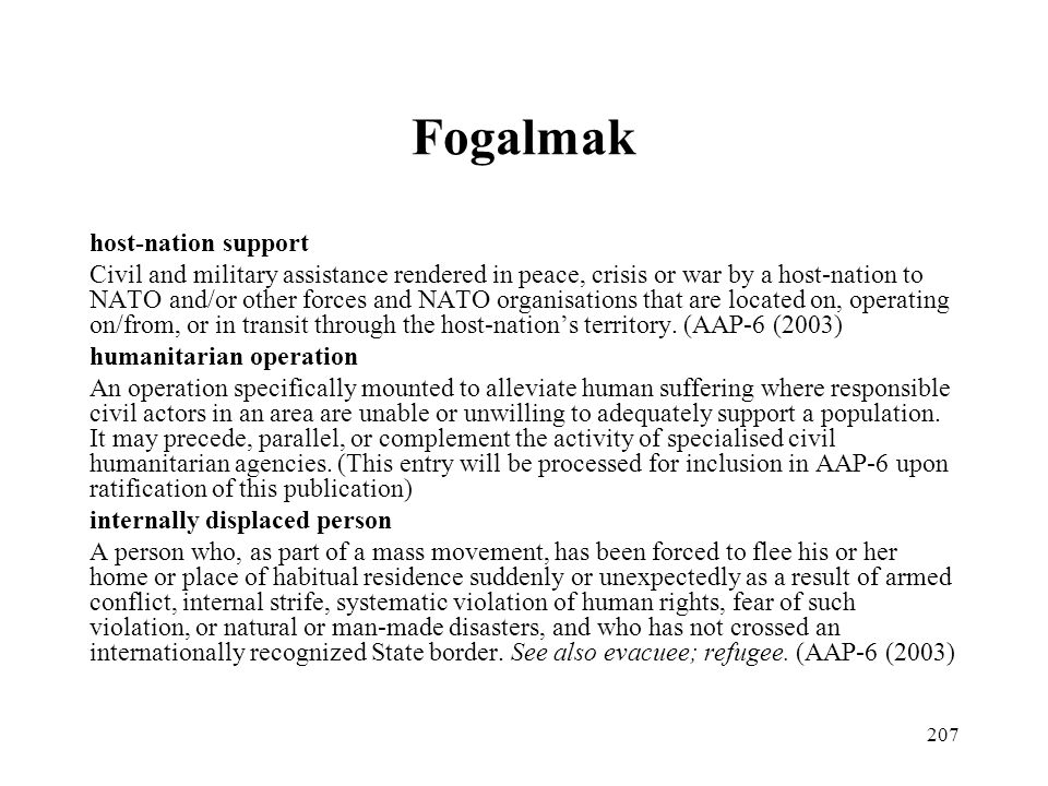 Fogalmak host-nation support