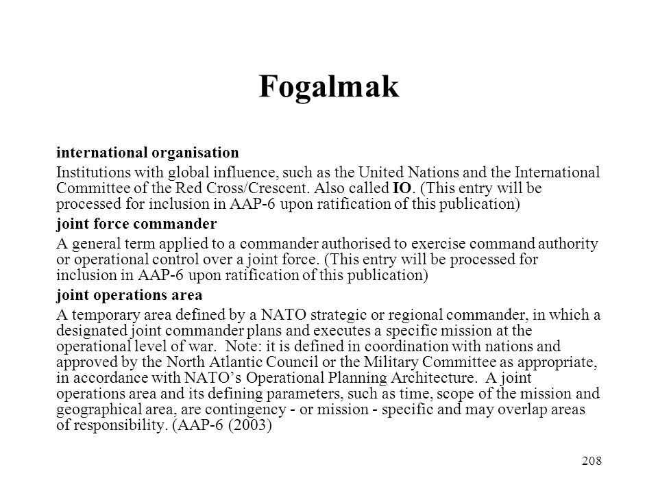 Fogalmak international organisation