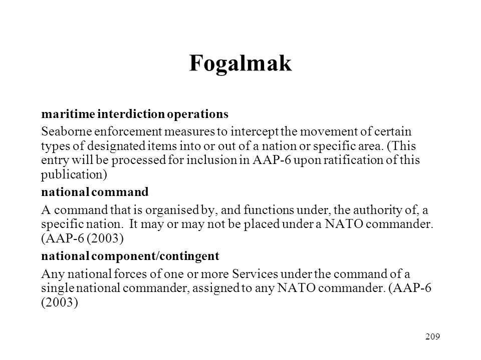 Fogalmak maritime interdiction operations