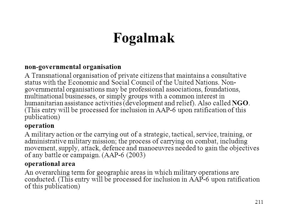 Fogalmak non-governmental organisation
