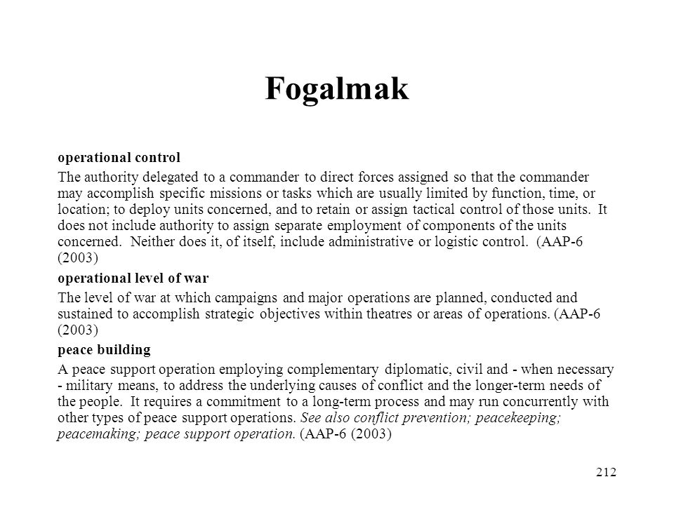 Fogalmak operational control