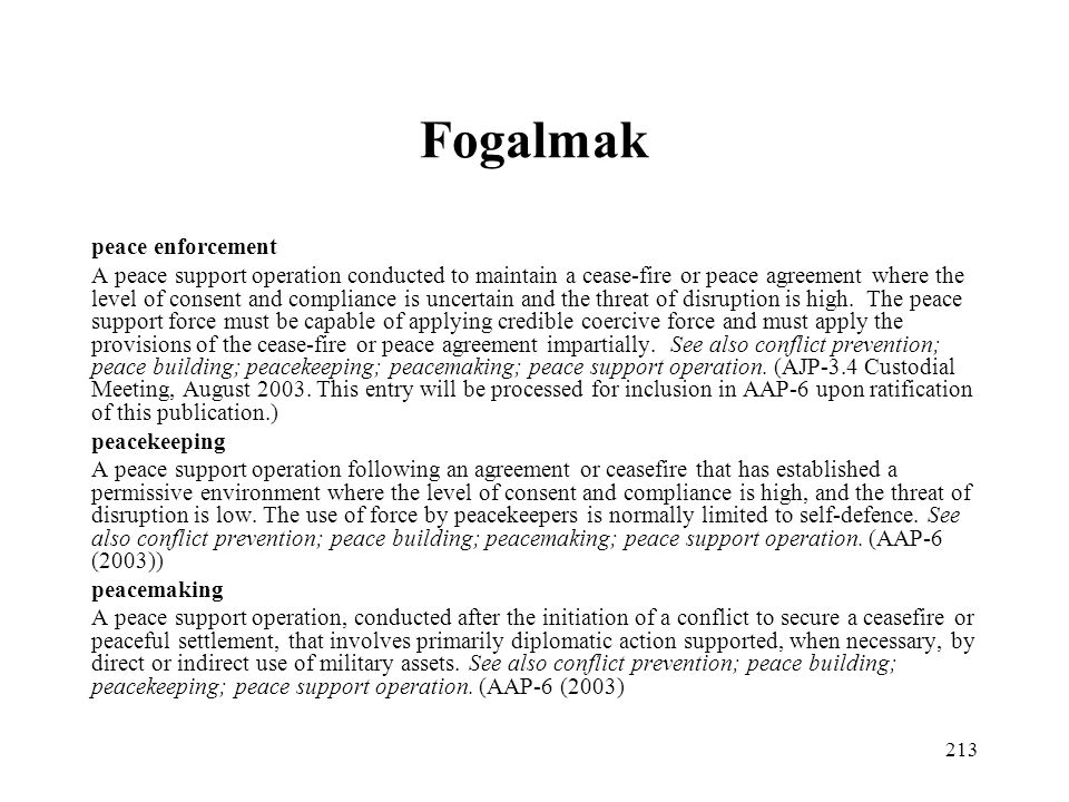 Fogalmak peace enforcement