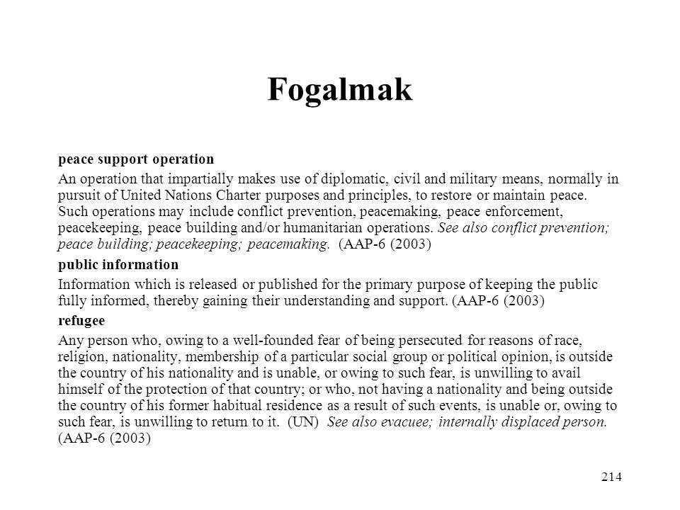 Fogalmak peace support operation