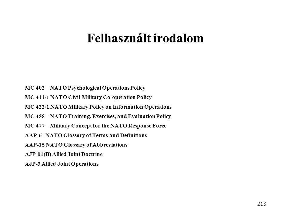 Felhasznált irodalom MC 402 NATO Psychological Operations Policy