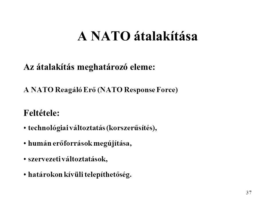 A NATO átalakítása Az átalakítás meghatározó eleme: Feltétele: