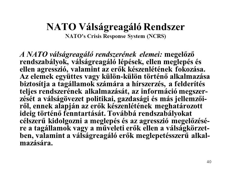 NATO Válságreagáló Rendszer NATO s Crisis Response System (NCRS)