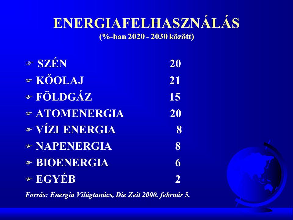ENERGIAFELHASZNÁLÁS (%-ban 2020 - 2030 között)