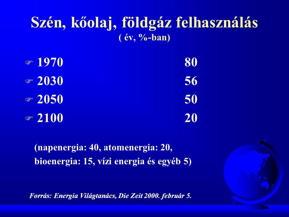 Szén, kőolaj, földgáz felhasználás ( év, %-ban)