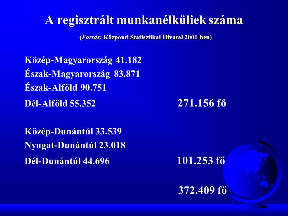 A regisztrált munkanélküliek száma (Forrás: Központi Statisztikai Hivatal 2001-ben)