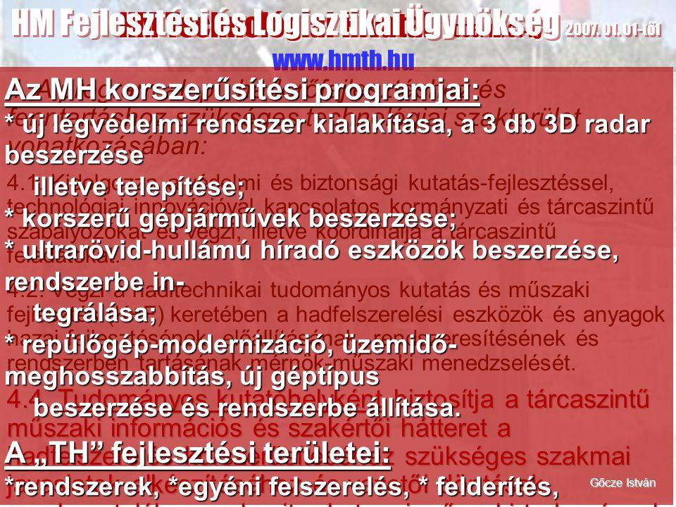 HM Fejlesztési és Logisztikai Ügynökség 2007. 01. 01-től