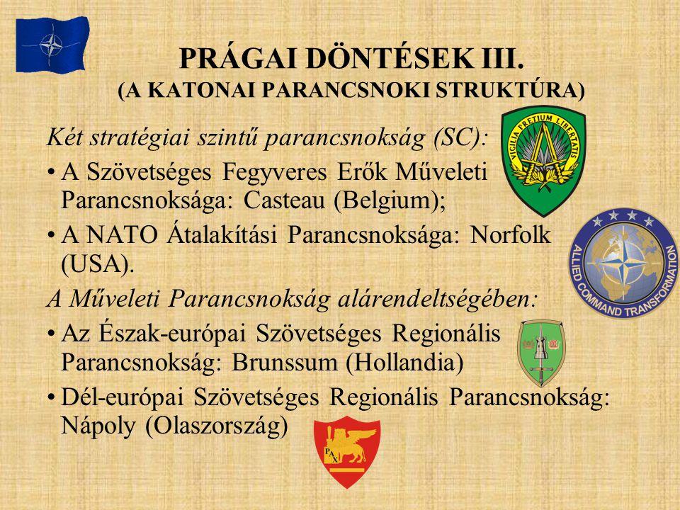 PRÁGAI DÖNTÉSEK III. (A KATONAI PARANCSNOKI STRUKTÚRA)