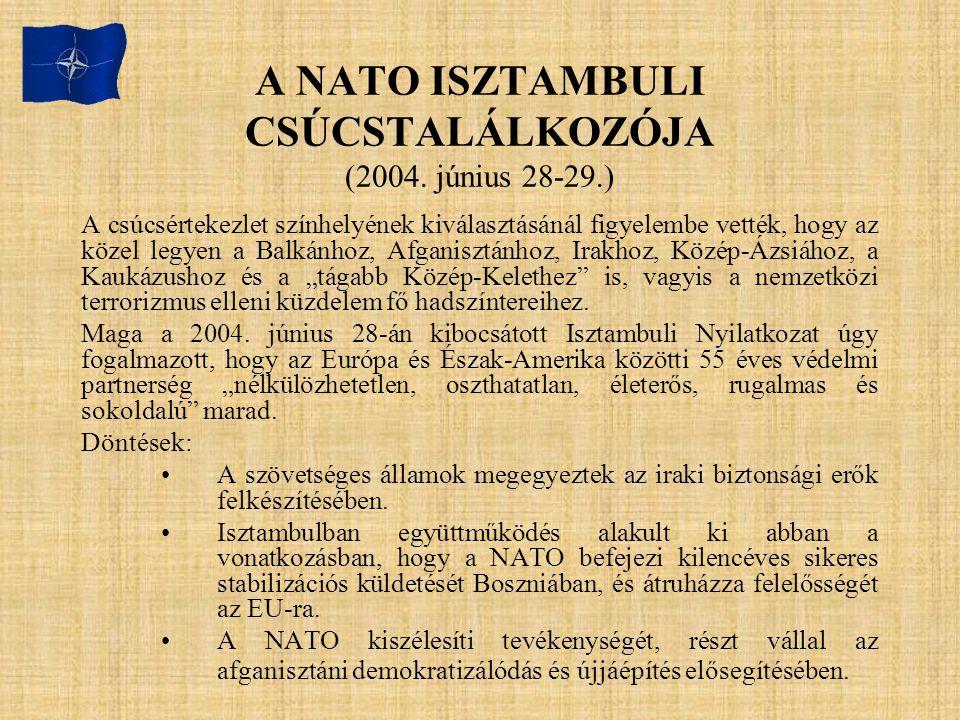 A NATO ISZTAMBULI CSÚCSTALÁLKOZÓJA (2004. június 28-29.)