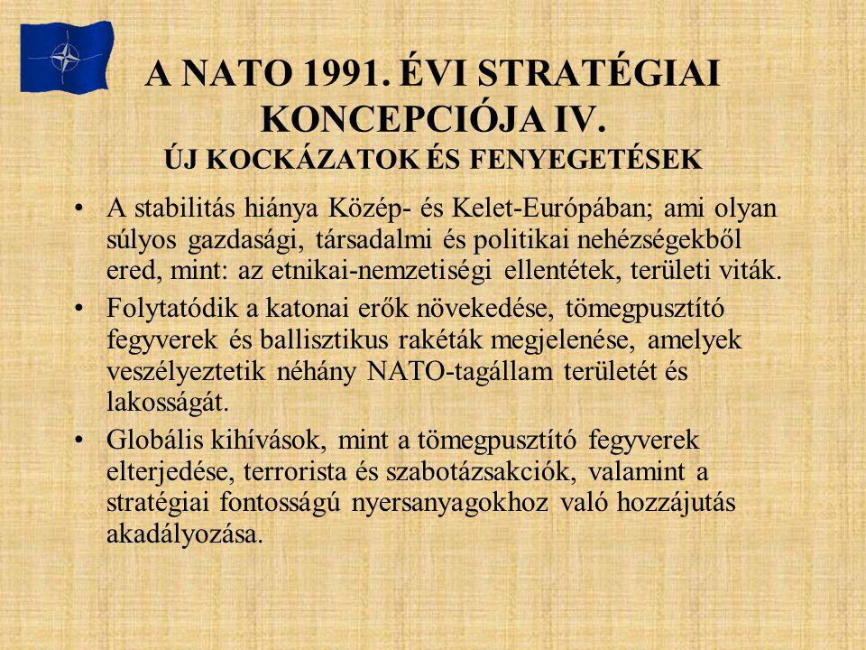 A NATO 1991. ÉVI STRATÉGIAI KONCEPCIÓJA IV