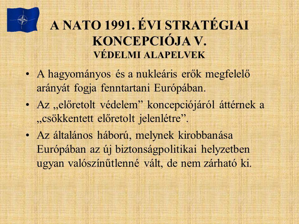 A NATO 1991. ÉVI STRATÉGIAI KONCEPCIÓJA V. VÉDELMI ALAPELVEK