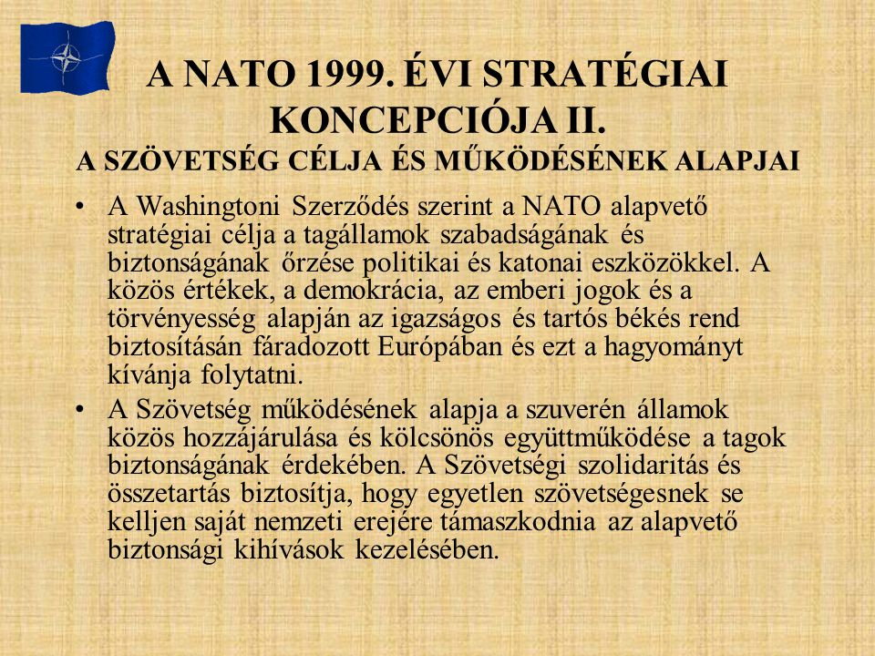 A NATO 1999. ÉVI STRATÉGIAI KONCEPCIÓJA II