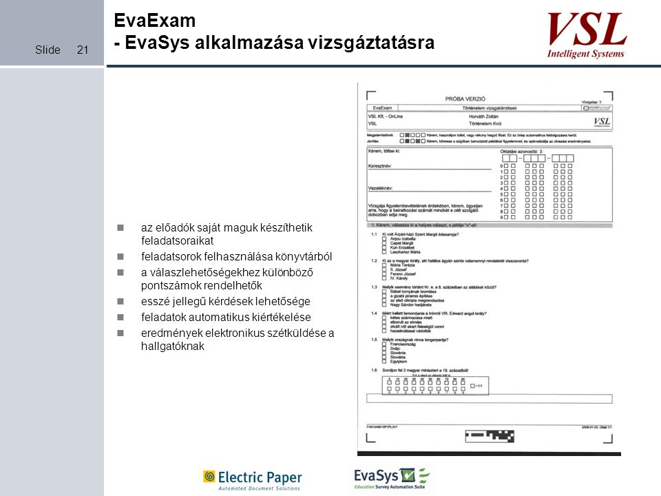 EvaExam - EvaSys alkalmazása vizsgáztatásra