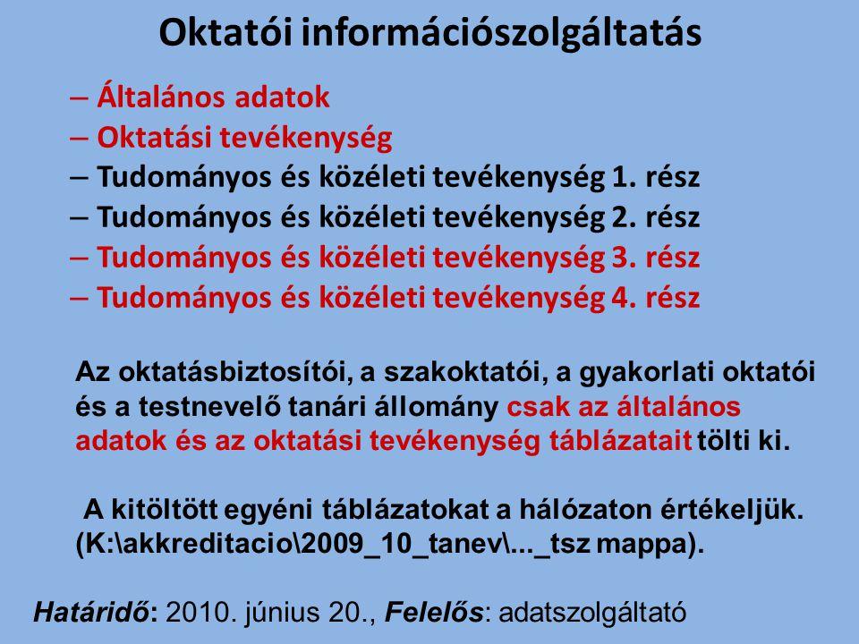 Oktatói információszolgáltatás
