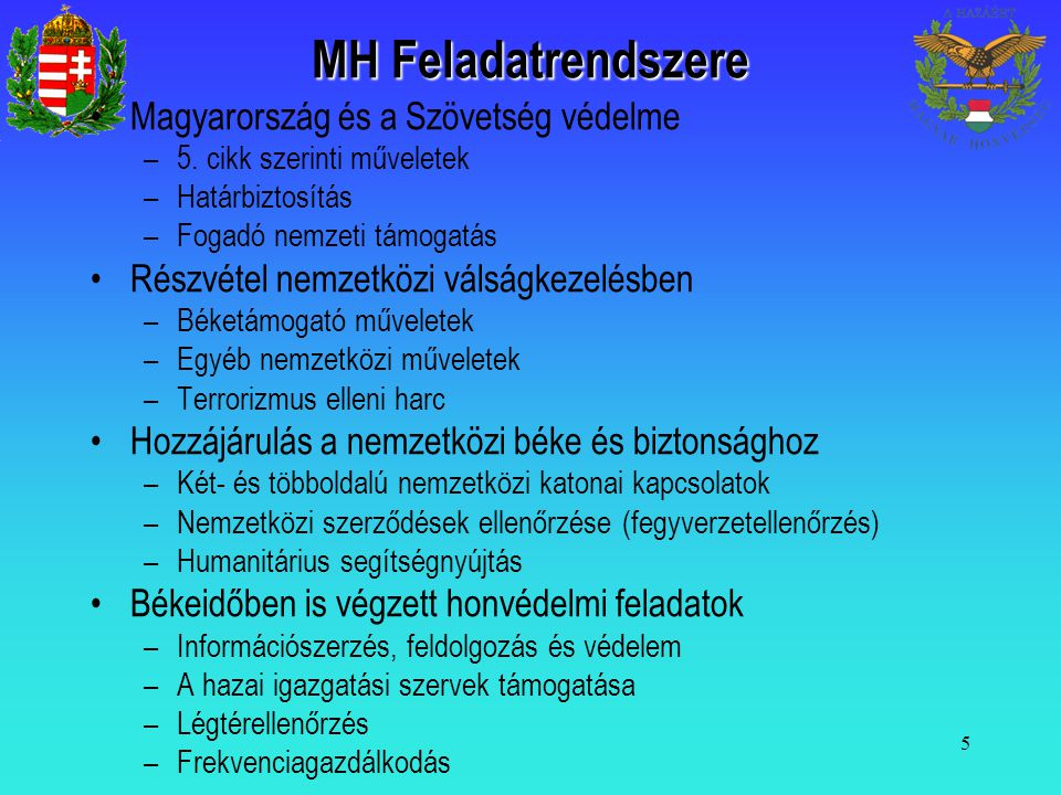 MH Feladatrendszere Magyarország és a Szövetség védelme