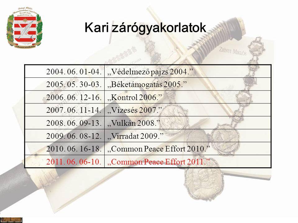"""Kari zárógyakorlatok 2004. 06. 01-04. """"Védelmező pajzs 2004."""