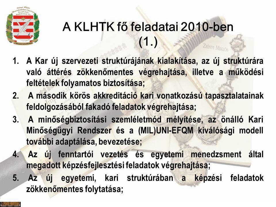 A KLHTK fő feladatai 2010-ben (1.)