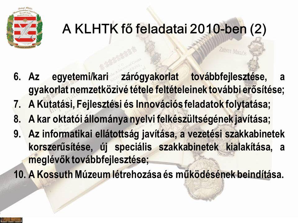A KLHTK fő feladatai 2010-ben (2)