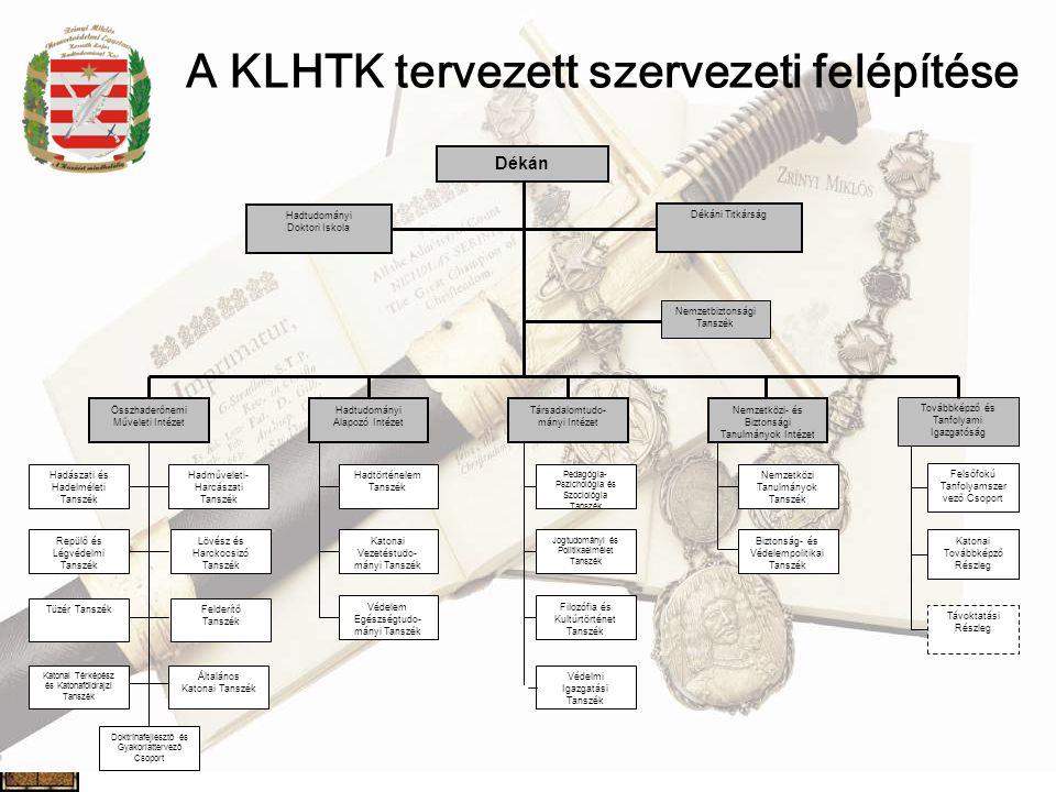 A KLHTK tervezett szervezeti felépítése