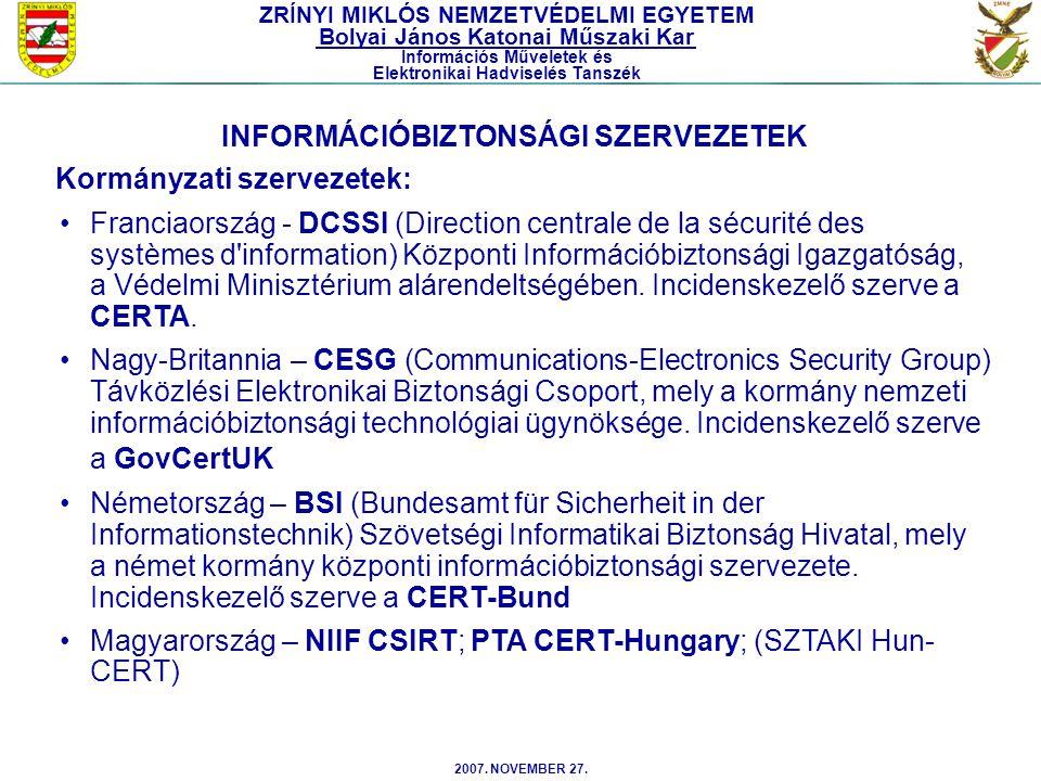 INFORMÁCIÓBIZTONSÁGI SZERVEZETEK Kormányzati szervezetek: