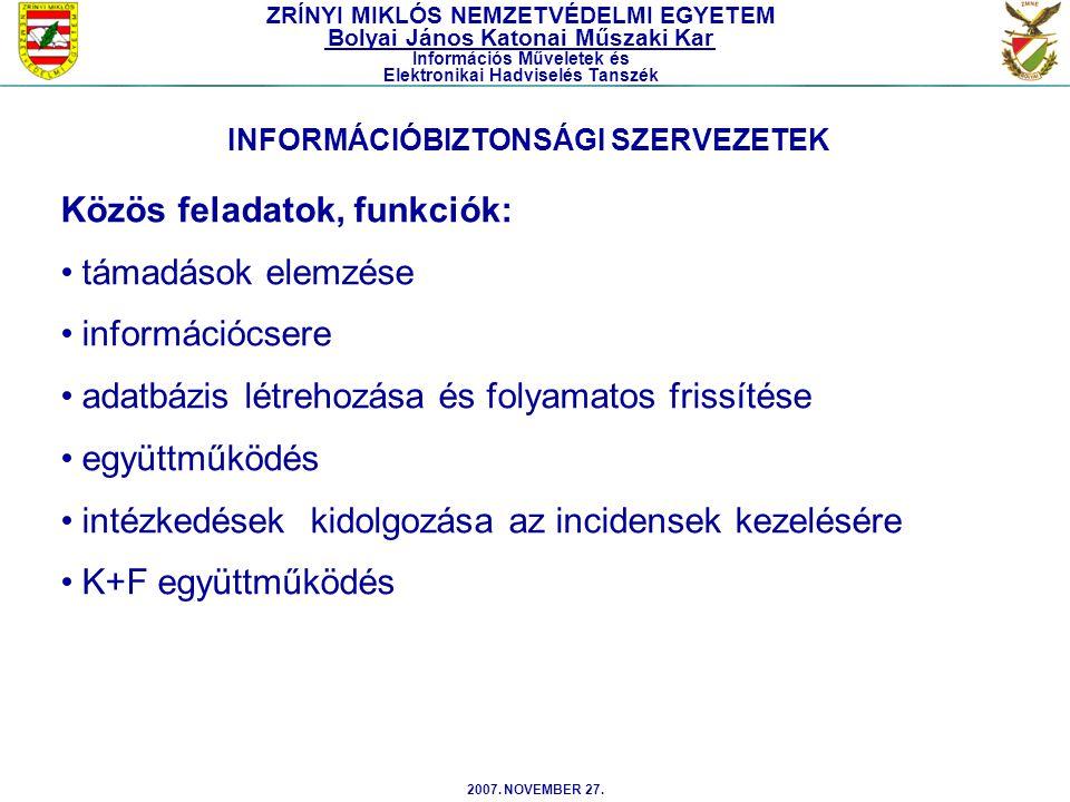 Közös feladatok, funkciók: támadások elemzése információcsere