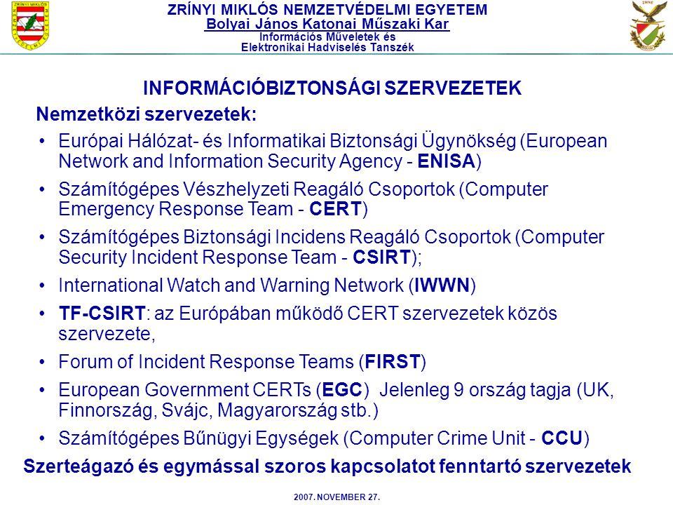 INFORMÁCIÓBIZTONSÁGI SZERVEZETEK Nemzetközi szervezetek: