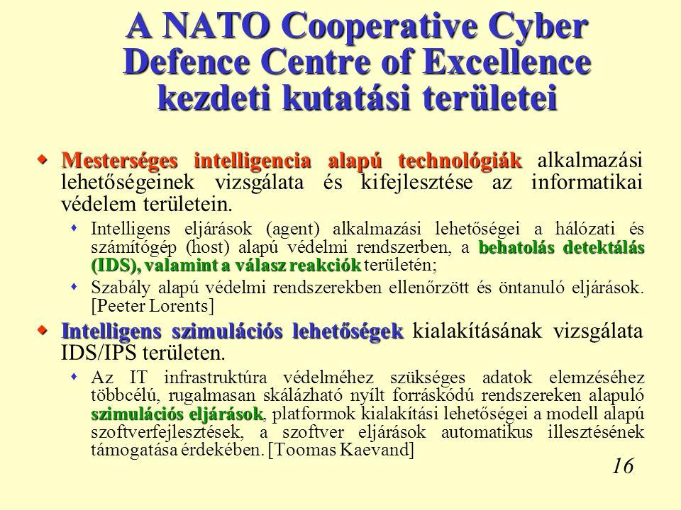 A NATO Cooperative Cyber Defence Centre of Excellence kezdeti kutatási területei