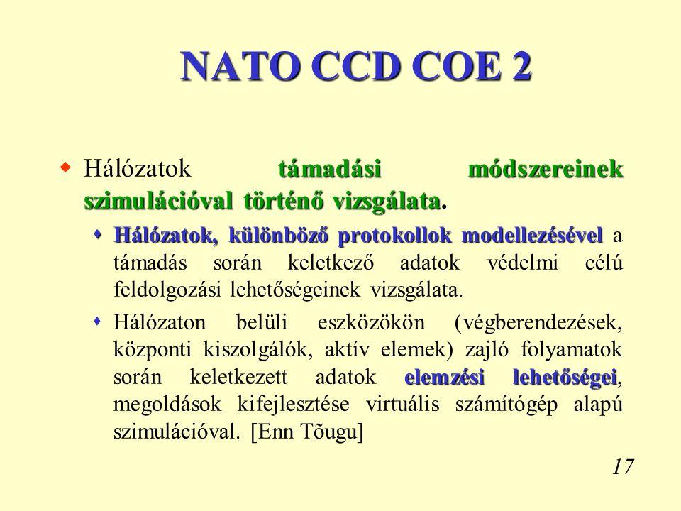 NATO CCD COE 2 Hálózatok támadási módszereinek szimulációval történő vizsgálata.