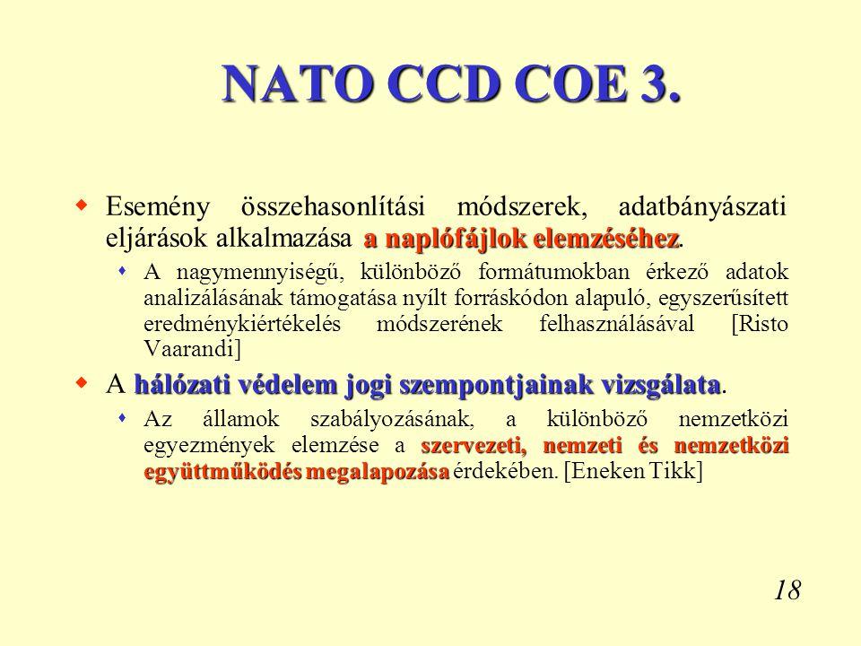 NATO CCD COE 3. Esemény összehasonlítási módszerek, adatbányászati eljárások alkalmazása a naplófájlok elemzéséhez.