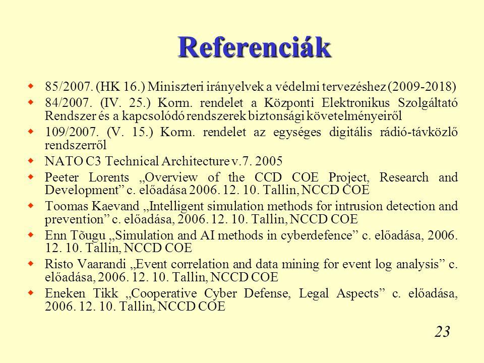 Referenciák 85/2007. (HK 16.) Miniszteri irányelvek a védelmi tervezéshez (2009-2018)