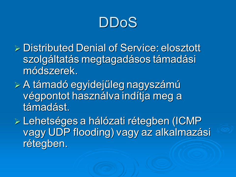 DDoS Distributed Denial of Service: elosztott szolgáltatás megtagadásos támadási módszerek.