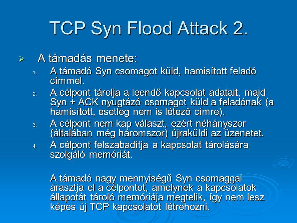 TCP Syn Flood Attack 2. A támadás menete: