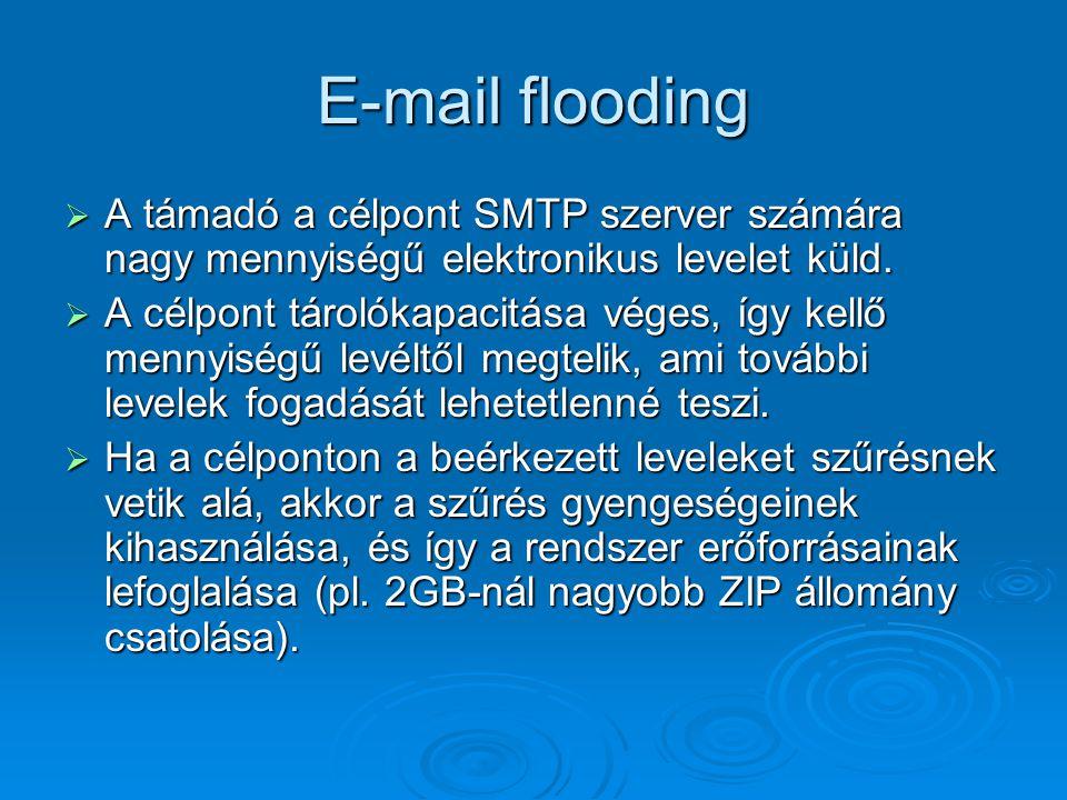 E-mail flooding A támadó a célpont SMTP szerver számára nagy mennyiségű elektronikus levelet küld.
