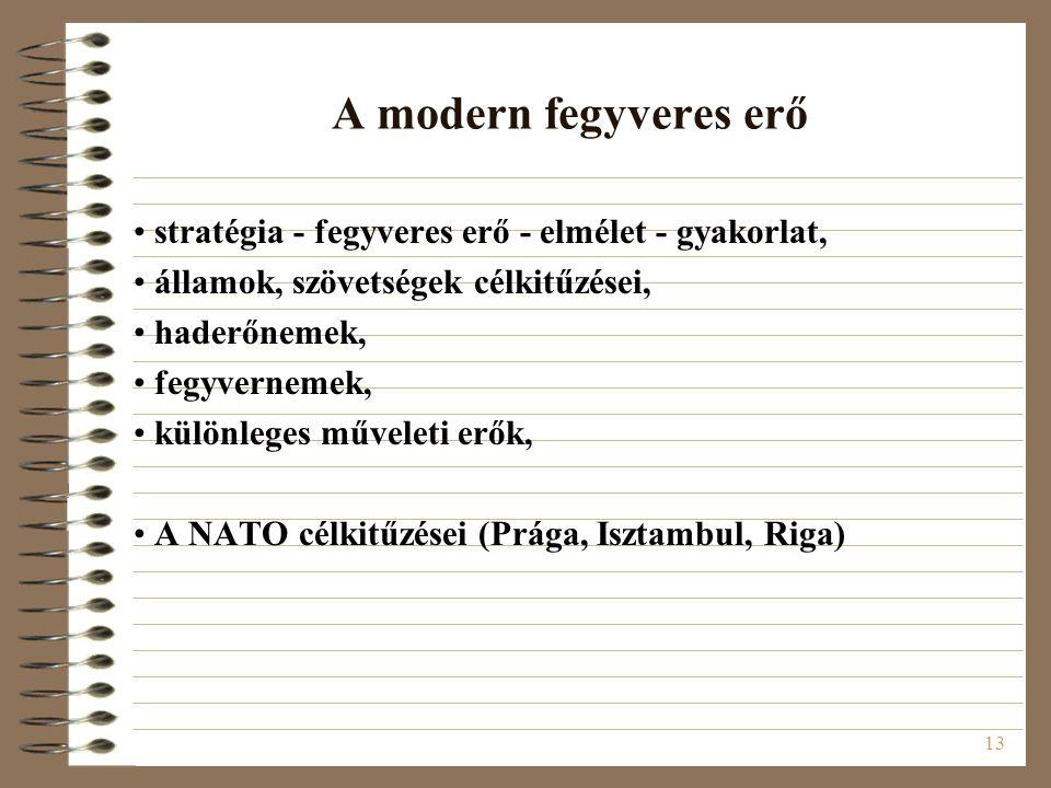 A modern fegyveres erő stratégia - fegyveres erő - elmélet - gyakorlat, államok, szövetségek célkitűzései,