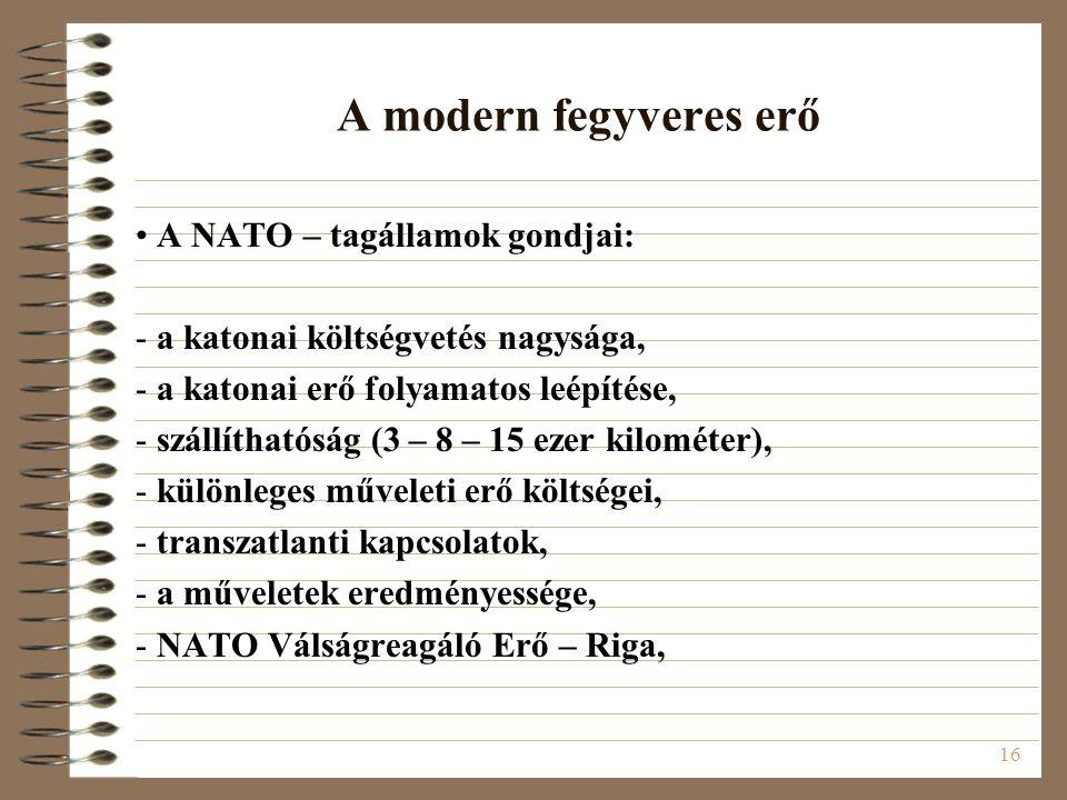 A modern fegyveres erő A NATO – tagállamok gondjai: