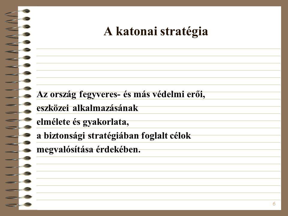 A katonai stratégia Az ország fegyveres- és más védelmi erői,