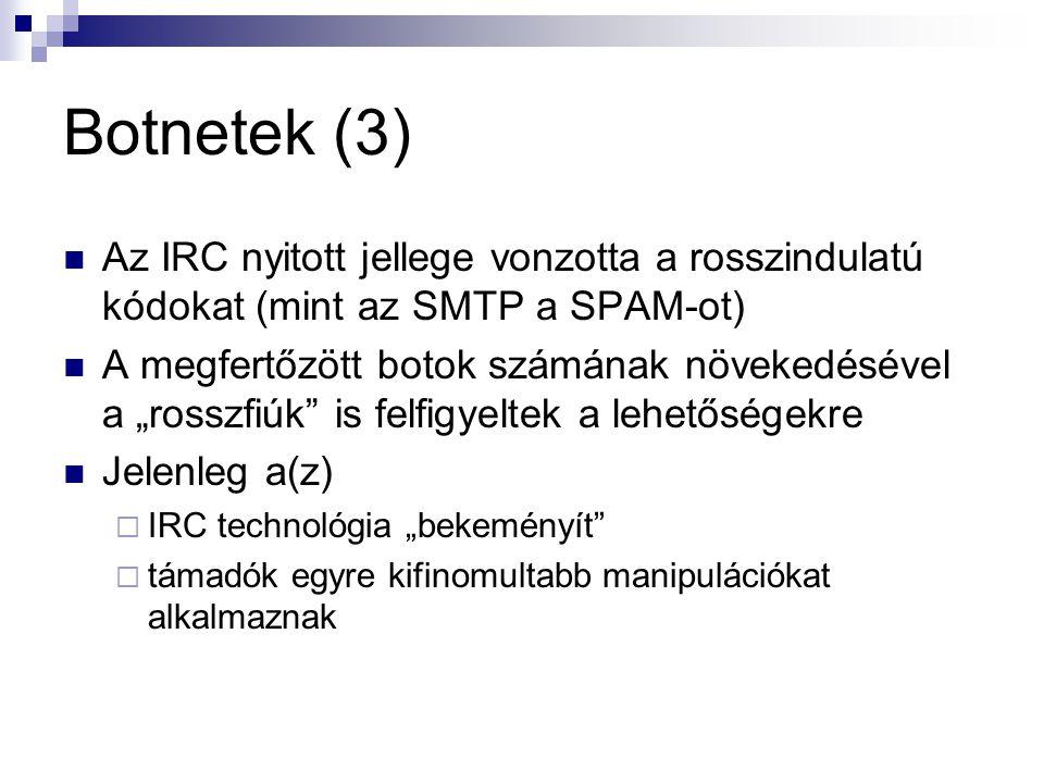Botnetek (3) Az IRC nyitott jellege vonzotta a rosszindulatú kódokat (mint az SMTP a SPAM-ot)