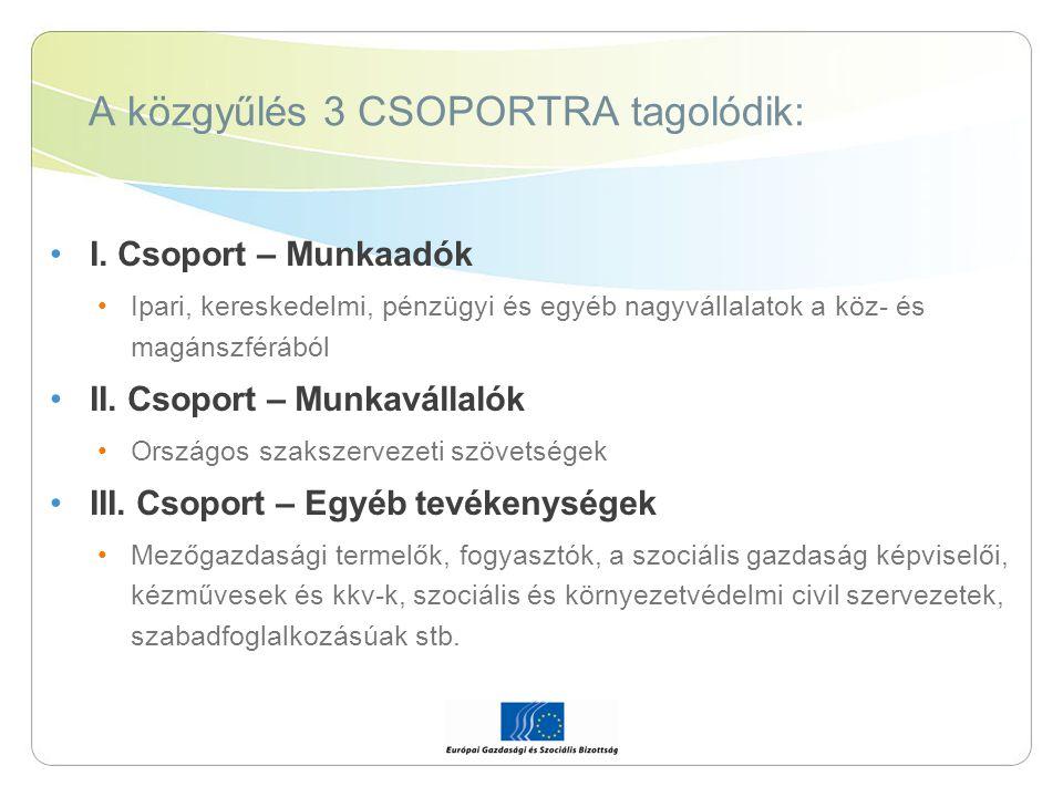 A közgyűlés 3 CSOPORTRA tagolódik: