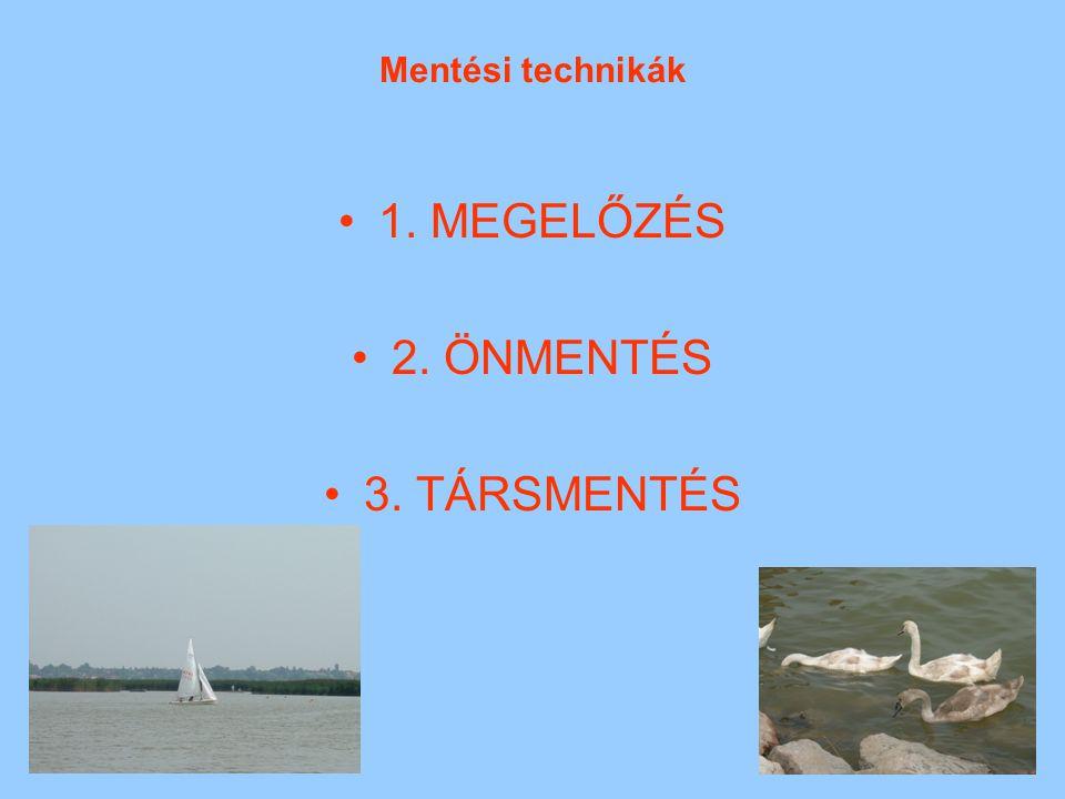 Mentési technikák 1. MEGELŐZÉS 2. ÖNMENTÉS 3. TÁRSMENTÉS