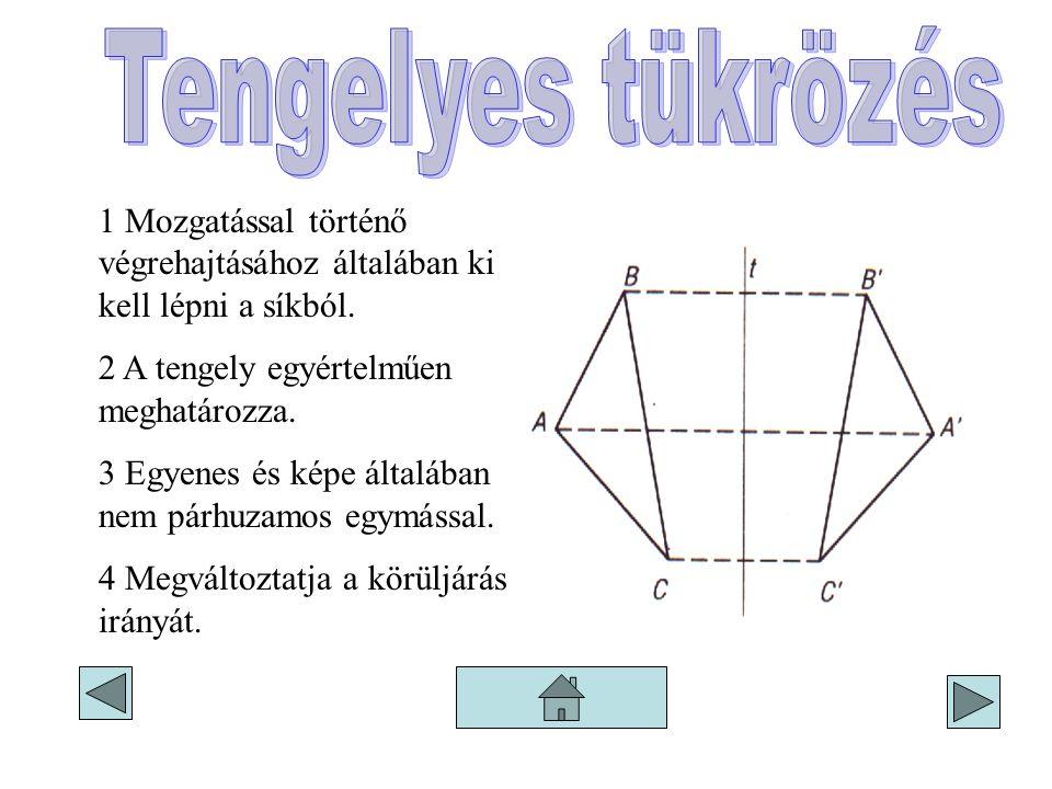 Tengelyes tükrözés 1 Mozgatással történő végrehajtásához általában ki kell lépni a síkból. 2 A tengely egyértelműen meghatározza.