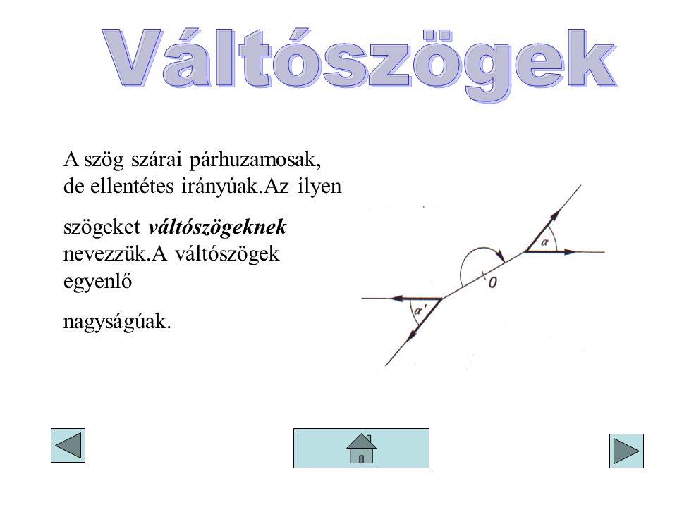 Váltószögek A szög szárai párhuzamosak, de ellentétes irányúak.Az ilyen. szögeket váltószögeknek nevezzük.A váltószögek egyenlő.
