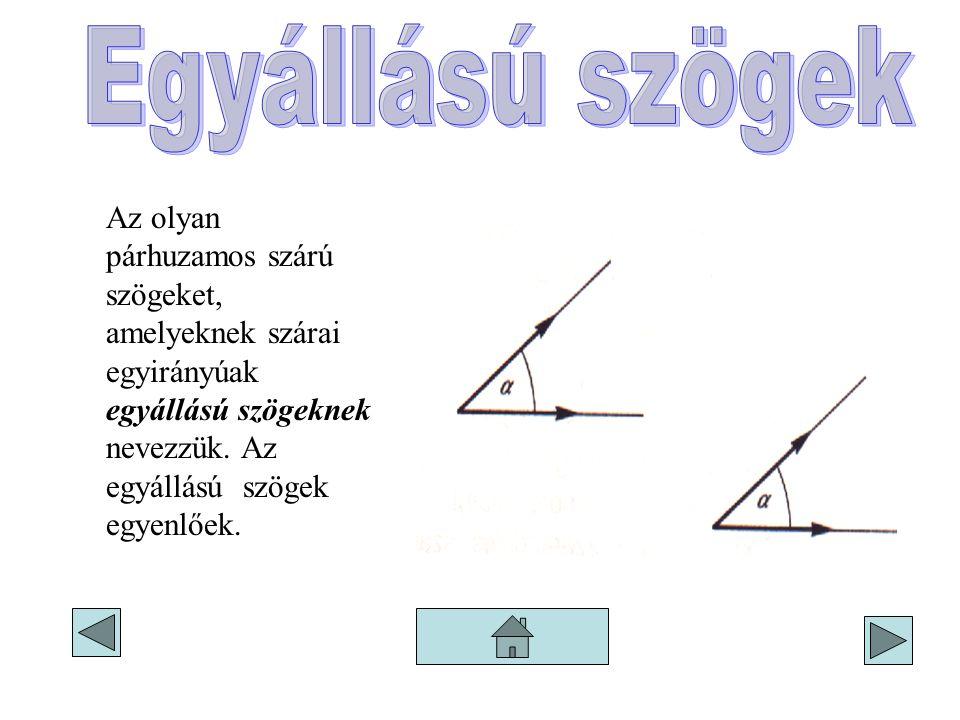 Egyállású szögek Az olyan párhuzamos szárú szögeket, amelyeknek szárai egyirányúak egyállású szögeknek nevezzük.