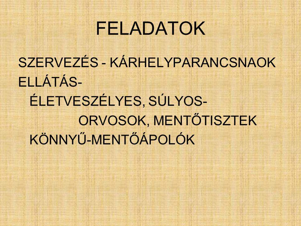 FELADATOK SZERVEZÉS - KÁRHELYPARANCSNAOK ELLÁTÁS-