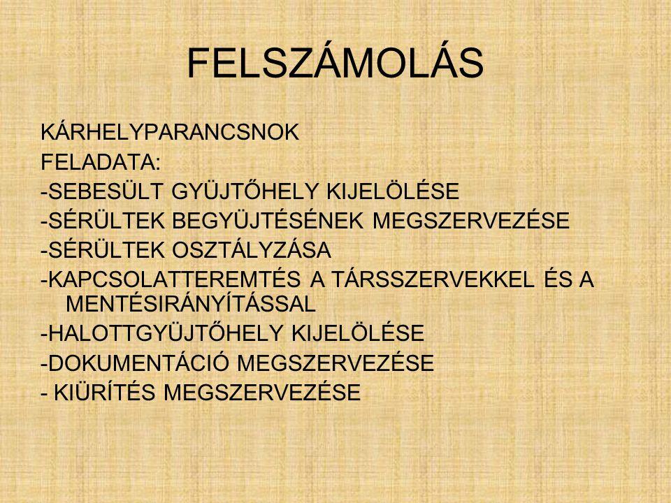 FELSZÁMOLÁS KÁRHELYPARANCSNOK FELADATA: